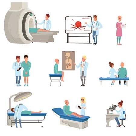 Medische diagnostiek en behandeling van kanker set, artsen, patiënten en apparatuur voor oncologie geneeskunde vectorillustraties Vector Illustratie