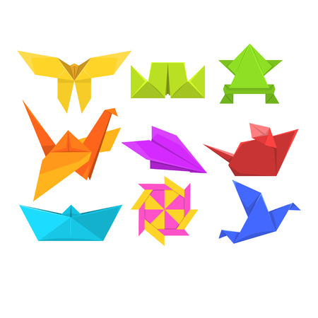 Animals origami set, geometric paper animals and birds vector Illustrations