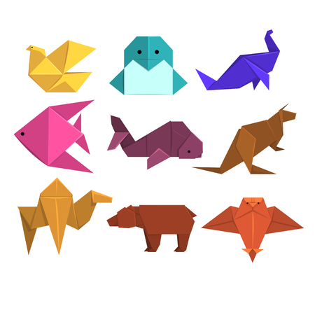 Animals origami set, animals and birds made of paper in origami technique vector Illustrations