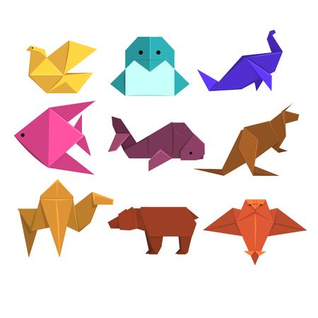 Zwierzęta origami zestaw, zwierzęta i ptaki wykonane z papieru w technice origami ilustracje wektorowe Ilustracje wektorowe