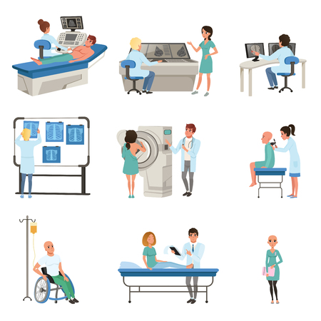 Diagnostic and treatment of cancer set, doctors, patients and equipment for oncology medicine vector Illustrations