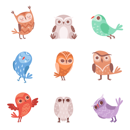 Cute cartoon owls set, lovely colorful owlets vector Illustrations on a white background Иллюстрация