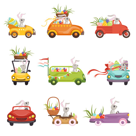 Cute little bunnies driving vintage car decorated with colored eggs set, funny rabbit characters, Happy Easter concept cartoon vector Illustrations on a white background
