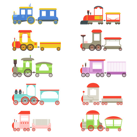 Toy locomotives and wagons set, colorful trains vector Illustrations on a white background