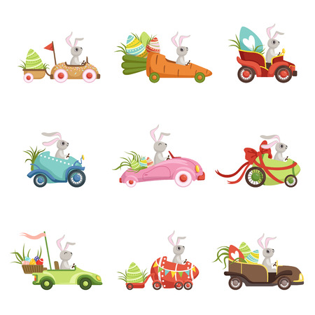 Cute little bunnies driving vintage car with colored eggs set, funny rabbit characters, Happy Easter concept cartoon vector Illustrations on a white background
