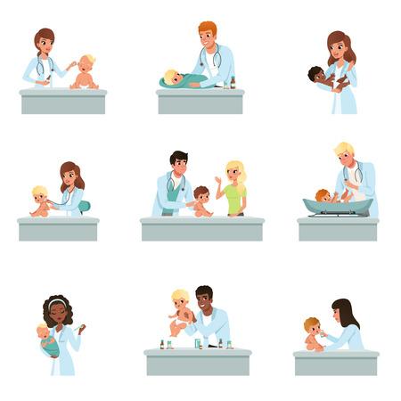 Médicos pediatras haciendo examen médico de bebés, chequeos médicos masculinos y femeninos para niños pequeños ilustraciones vectoriales sobre un fondo blanco.