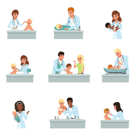 Pediatrician doctors doing medical examination of babies set, male and female doctors checkup for little kids vector Illustrations on a white background