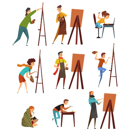 Artists painting on canvas set, painter characters vector Illustrations on a white background
