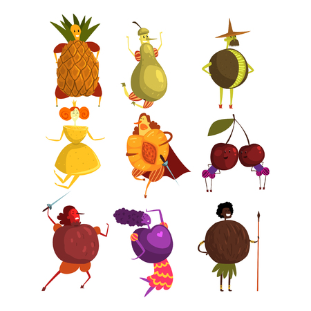 Funny fruits cartoon characters set, people in fruit costumes vector Illustrations on a white background