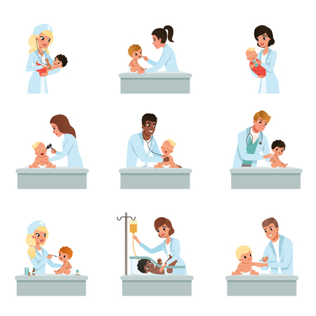 Pediatrician doctors doing medical examination of little kids set, male and female doctors checkup for babies vector Illustrations on a white background