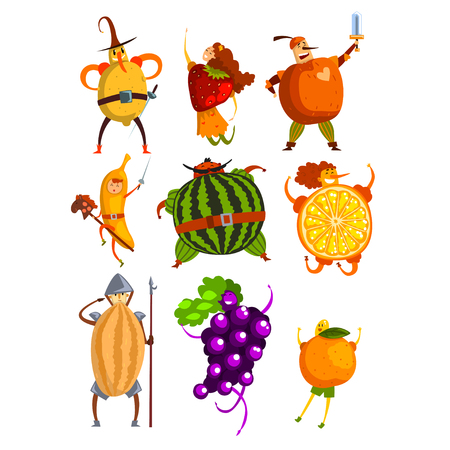 Funny fruits cartoon characters set, people in fruit costumes comic vector Illustrations on a white background