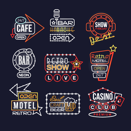 Colorful glowing signboards set, retro neon street signs vector Illustrations on a black background