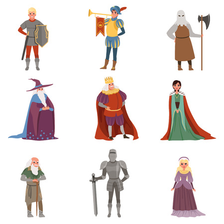 Medieval people characters set, European middle ages historic period elements vector Illustrations on a white background