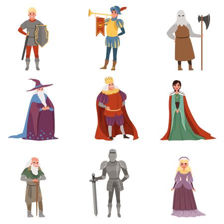 Middeleeuwse mensen tekens instellen, Europese middeleeuwen historische periode elementen vectorillustraties op een witte achtergrond