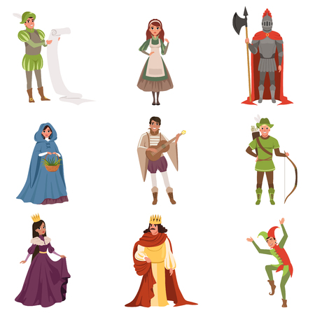 Medieval people characters of European middle ages historic period vector Illustrations on a white background Çizim