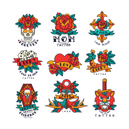 Colorfull tattoos in traditional vintage style set of vector Illustrations