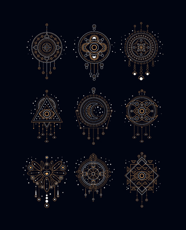 Dreams traps set, native American Indian dream catcher vector Illustrations