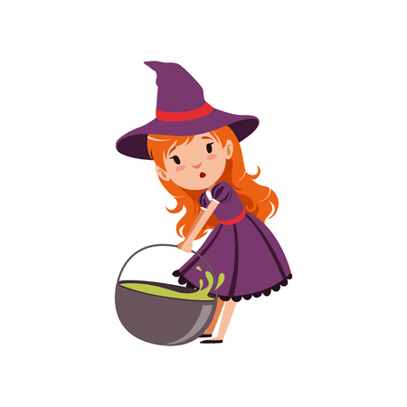 Cute small red-haired girl witch dragging cauldron with green potion. Trick or Treat Halloween costume. Vector flat cartoon illustration on white. Illustration