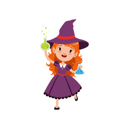 Small red-haired girl witch standing with glass flasks full of potions in his hands. Child character in purple dress and hat. Halloween costume. Flat vector on white. Ilustracja