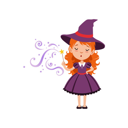 Cute small witch casts a spell with the magic wand. Young red-haired kid girl wearing purple dress and hat. Vector flat cartoon illustration isolated on white Illusztráció