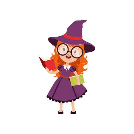 Smart red-haired girl witch reading books and wearing purple dress, hat and glasses. Smiling kid character in Halloween costume. Vector flat cartoon illustration on white.