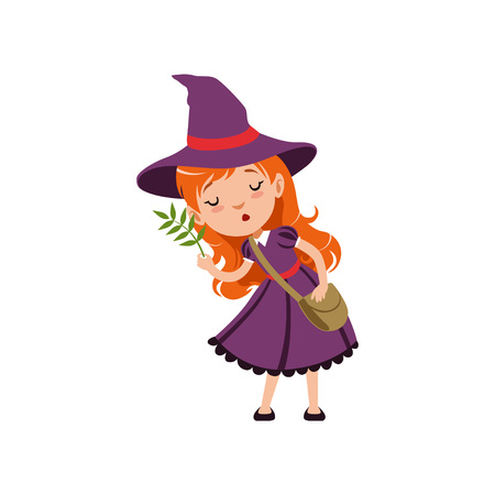 Cute small red-haired girl witch in purple dress, hat, with cross body bag. Smiling kid character in costume studying herbs. Vector flat cartoon illustration on white