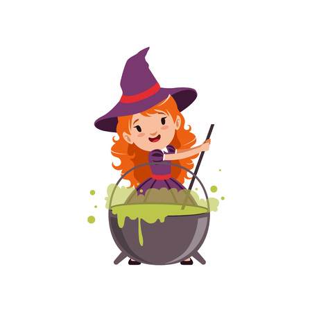 Little red-haired girl witch preparing a potion in a cauldron, wearing purple dress and hat. Kid character in Halloween costume. Flat cartoon vector isolated on white. Illustration