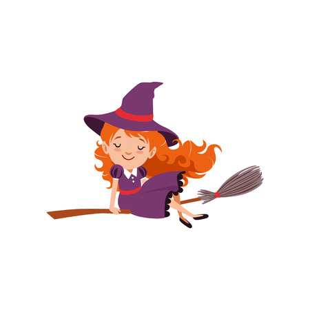 Little red-haired girl witch flying on a broomstick in purple dress and hat. Happy kid character in costume. Trick or Treat Halloween concept. Flat cartoon vector Illustration