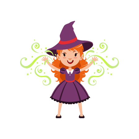 Red-haired girl witch wearing purple dress and hat. Kid character in costume surrounded with black silhouettes of skulls. Trick or Treat concept. Vector flat cartoon illustration.