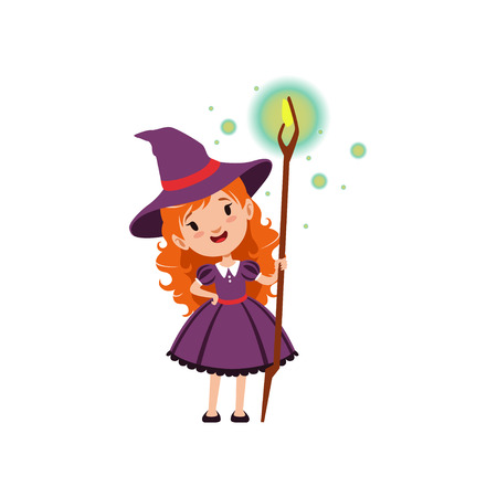 Adorable little red-haired girl witch vector illustration