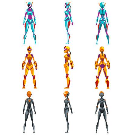 Robot costumes set, superhero woman vector Illustrations Illustration