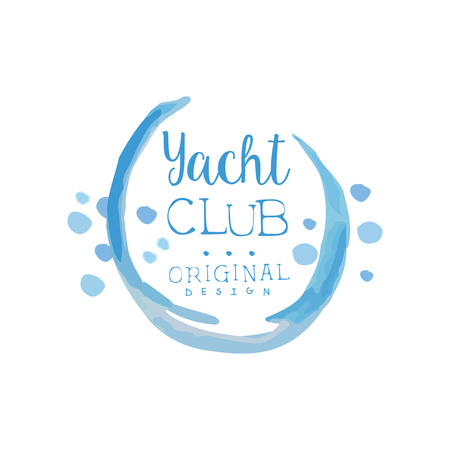 Original yacht club template in blue color. Sea adventure. Active summer vacation. Bright watercolor painting. Vector design for advertising poster or banner