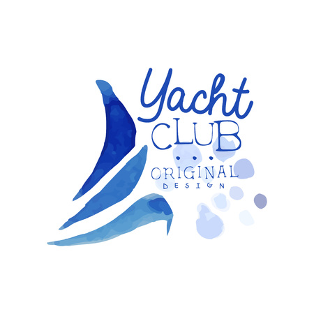 Original template for yacht club. Abstract blue waves of sailboat. Sea and ocean theme. Bright watercolor painting. Vector design for advertising poster or flyer