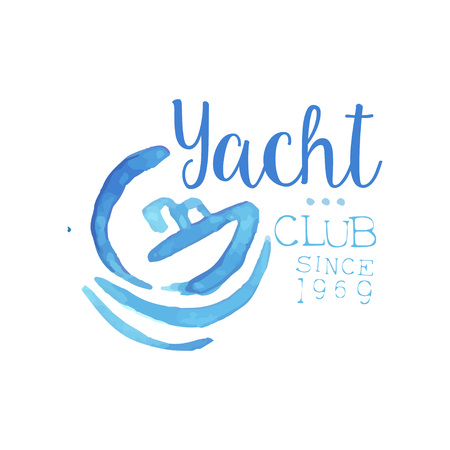 Watercolor painting with silhouette of boat and waves. Original blue emblem for yacht club. Concept of marine travel and yachting sport. Hand drawn vector design