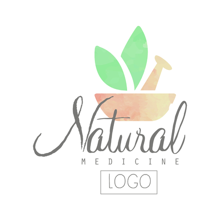 Creative watercolor logo with pestle, mortar and green leaves vector illustration