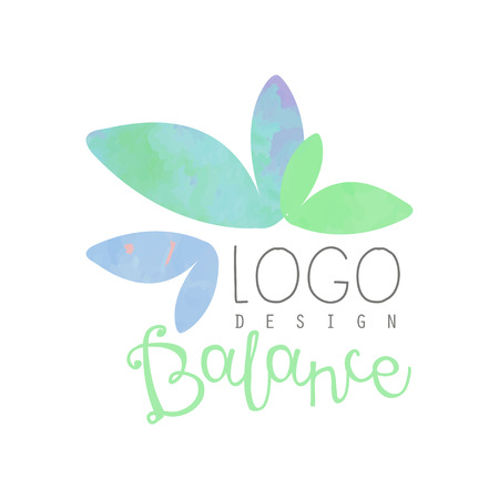 Watercolor design with abstract leaves. Herbal balance. Decorative vector element for yoga class or spa salon. Alternative medicine. Wellness concept