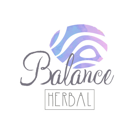Abstract logo for self-development center or yoga class. Wellness and alternative medicine concept. Herbal balance. Watercolor painting. Hand drawn vector design