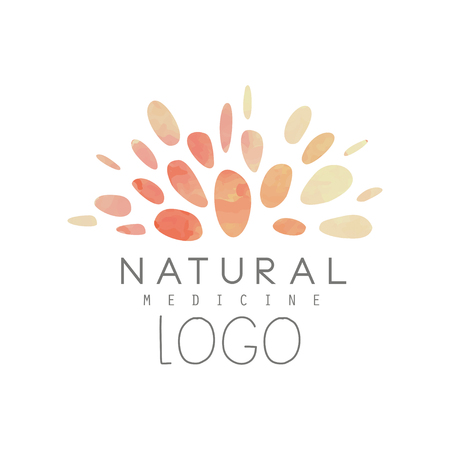Creative with abstract watercolor pattern. Natural or alternative medicine. Wellness concept. Holistic naturopathic center or yoga studio. Hand drawn vector design Vettoriali