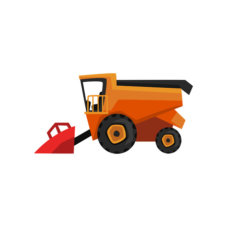 Agricultural harvester, combine farm machinery vector Illustration on a white background, flat style