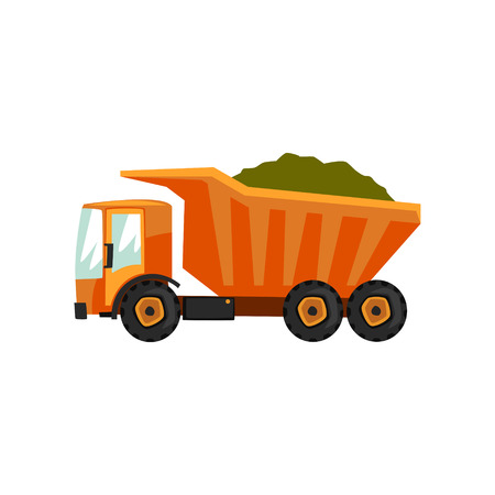 Agricultural delivery truck, transportation of grain vector Illustration on a white background, flat style