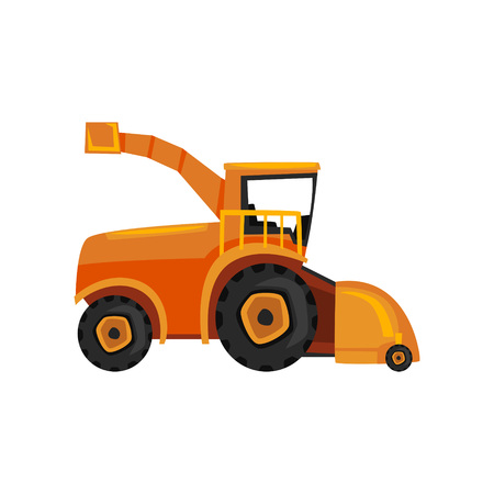 Combine farm machinery, agricultural harvester vector Illustration on a white background, flat style Illustration