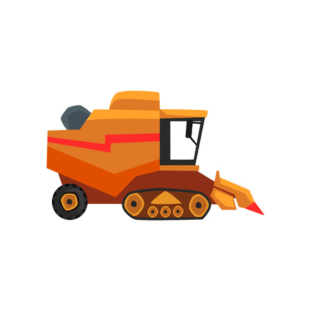 Agricultural harvester, combine farm vehicle vector Illustration on a white background, flat style Illustration