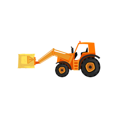 Loader tractor, agricultural machinery vector Illustration on a white background, flat style