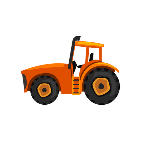 Tractor agricultural machinery, farm equipment vector Illustration on a white background