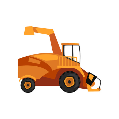 Harvester machine, combine, farm machinery vector Illustration on a white background, flat style