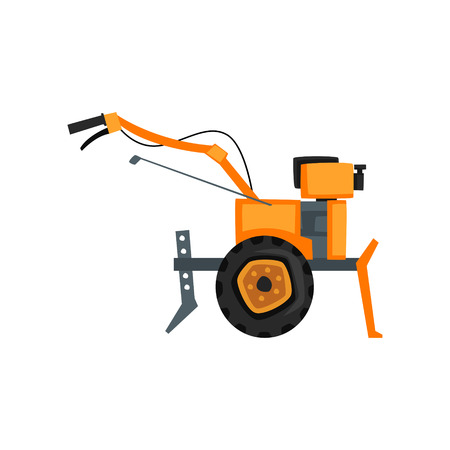 Motocultivator, agriculture machine, garden tiller vector Illustration on a white background 向量圖像