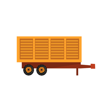 Agricultural wagon trailer, agriculture industrial farm equipment, farm machinery vector Illustration on a white background