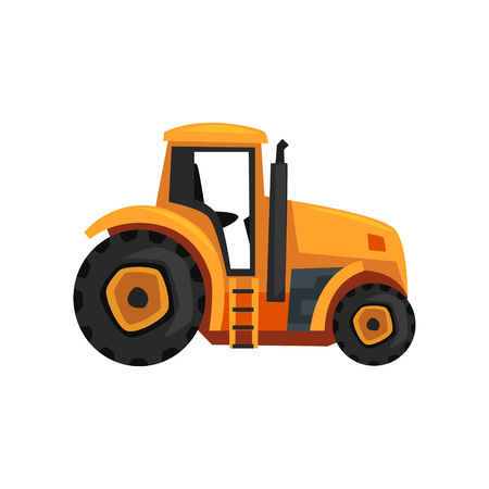 Tractor agriculture industrial farm equipment vector Illustration on a white background, flat style