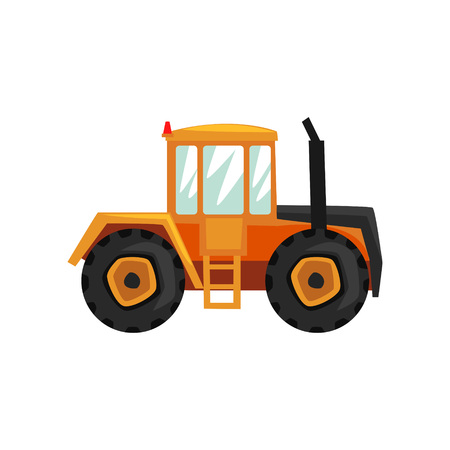 Tractor agriculture industrial farm equipment, rural machinery vector Illustration on a white background, flat style