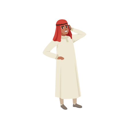 Arabic businessman character talking by pone, Muslim man in traditional clothing vector Illustration on a white background